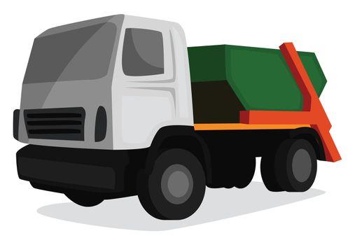 Garbage truck , illustration, vector on white background