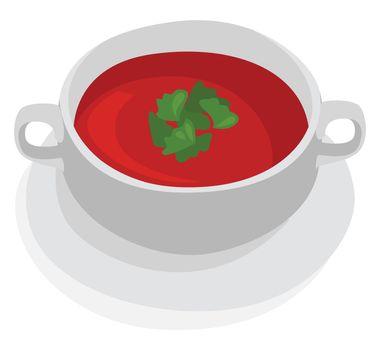 Tomato soup , illustration, vector on white background