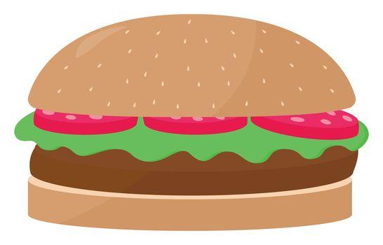 Hamburger , illustration, vector on white background