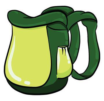 Green backpack , illustration, vector on white background