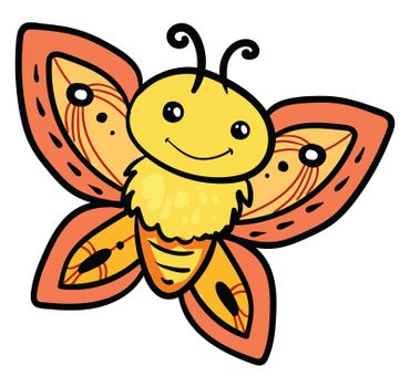 Happy yellow butterfly , illustration, vector on white background