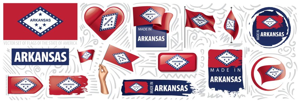 Vector set of flags of the American state of Arkansas in different designs.