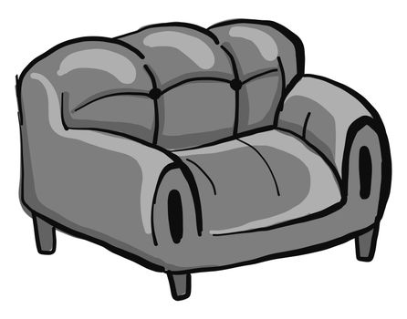 Gray couch , illustration, vector on white background