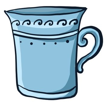 Blue old cup , illustration, vector on white background