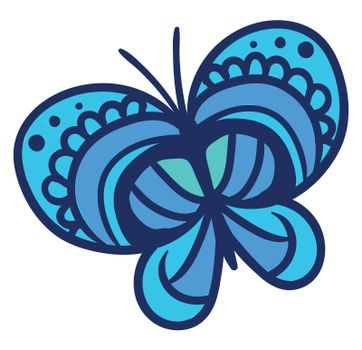 Beautiful blue butterfly , illustration, vector on white background