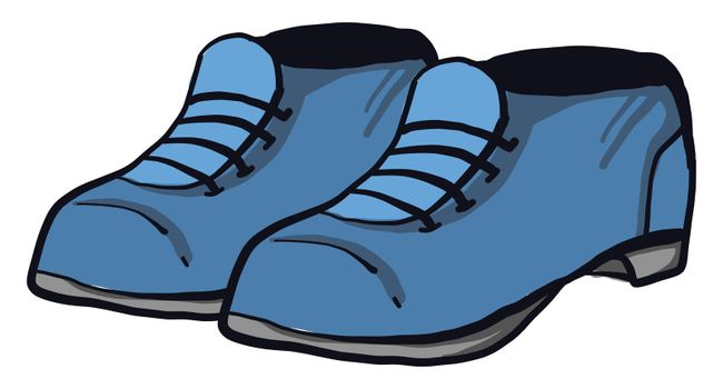 Blue man shoes , illustration, vector on white background