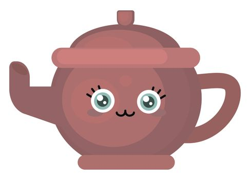 Cute kettle , illustration, vector on white background