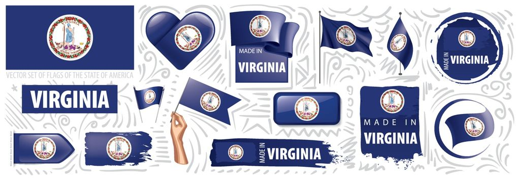 Vector set of flags of the American state of Virginia in different designs.