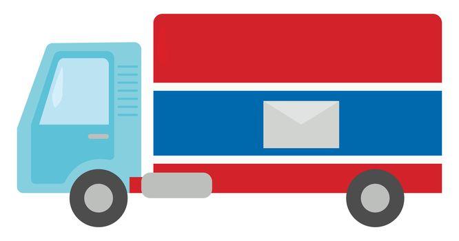 Mail truck , illustration, vector on white background