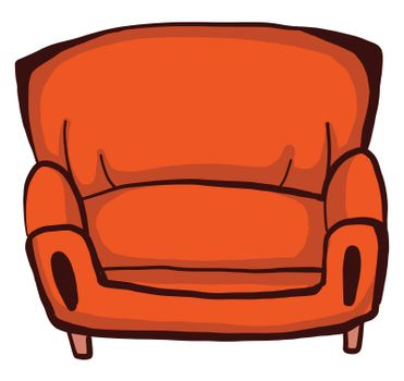 Orange armchair , illustration, vector on white background