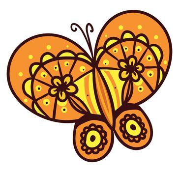 Orange butterfly , illustration, vector on white background