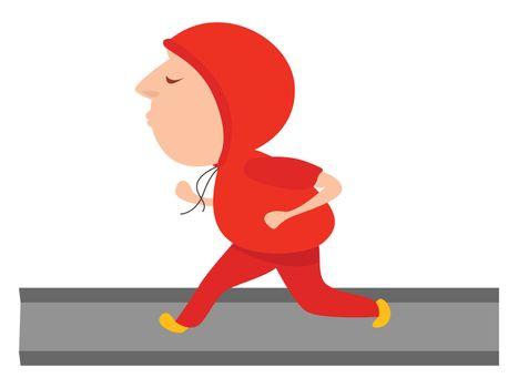 Morning running , illustration, vector on white background