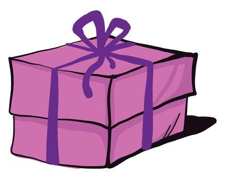 Pink birthday present , illustration, vector on white background