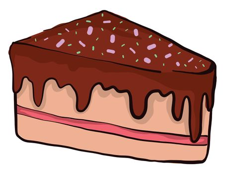 Piece of chocolate cake , illustration, vector on white background