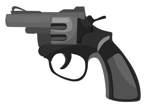 Black revolver , illustration, vector on white background
