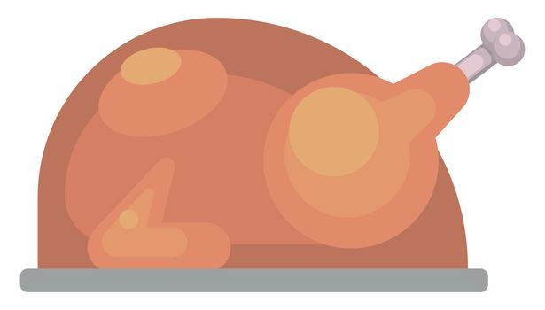 Roasted chicken , illustration, vector on white background
