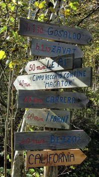 Dolomiti sign in wood