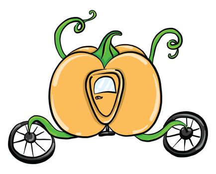 Pumpkin carriage , illustration, vector on white background
