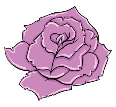 Pink rose , illustration, vector on white background
