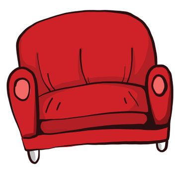 Red sofa , illustration, vector on white background