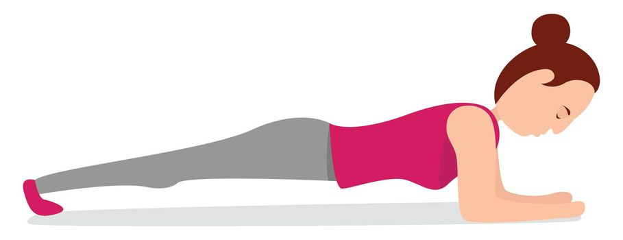 Girl doing plank , illustration, vector on white background