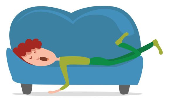 Sleeping man on the couch , illustration, vector on white background