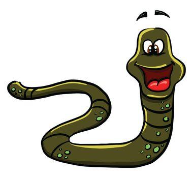 Green snake , illustration, vector on white background