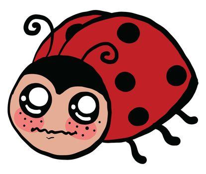 Scared ladybug , illustration, vector on white background