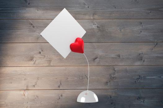 Composite image of heart paper holder