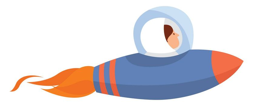 Blue space rocket , illustration, vector on white background