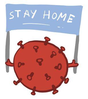 Stay home corona virus , illustration, vector on white background