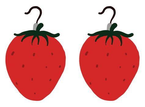 Strawberry earrings , illustration, vector on white background