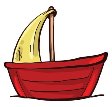 Red small boat , illustration, vector on white background
