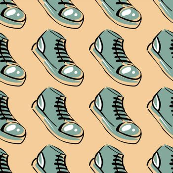 Hi tops sneakers , illustration, vector on white background
