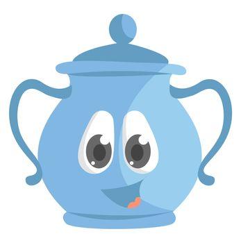 Blue sugar bowl , illustration, vector on white background