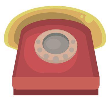 Old telephone , illustration, vector on white background