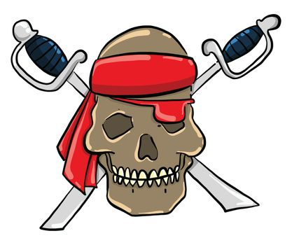 Pirate skull with swords , illustration, vector on white background