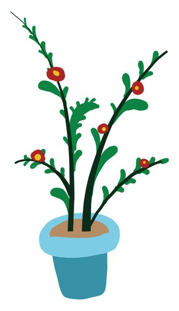 Red flowers in a pot , illustration, vector on white background
