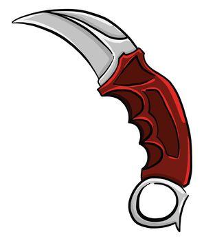 Red karambit knife , illustration, vector on white background