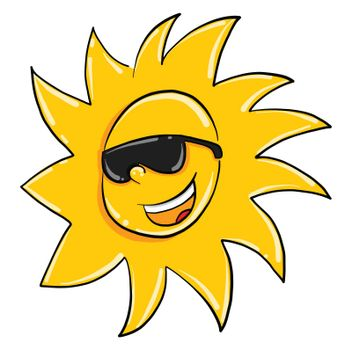 Sun with sunglasses , illustration, vector on white background