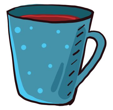 Tea in blue cup , illustration, vector on white background