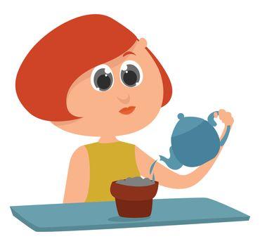 Girl watering flowers , illustration, vector on white background