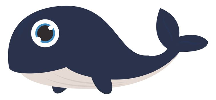 Big blue whale , illustration, vector on white background