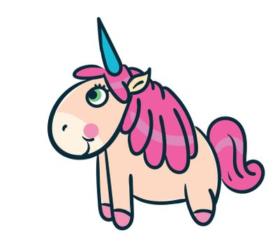 Happy unicorn , illustration, vector on white background