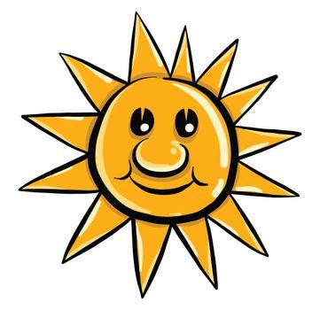 Happy sun , illustration, vector on white background