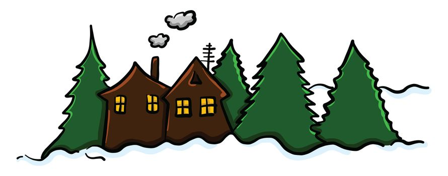 Winter village , illustration, vector on white background