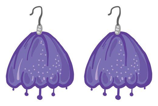 Purple earrings , illustration, vector on white background