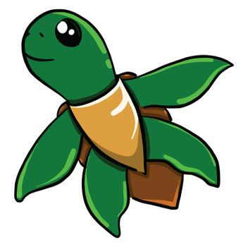 Swimming turtle , illustration, vector on white background