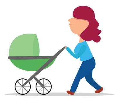 Walk with a child , illustration, vector on white background