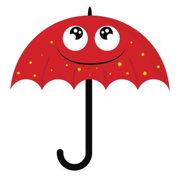 Red umbrella , illustration, vector on white background
